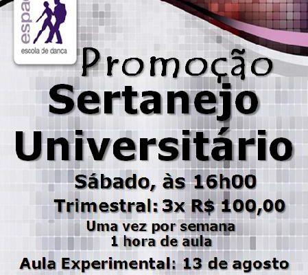 Sertanejo Universitário –  Iniciante – sábado, às 16h00