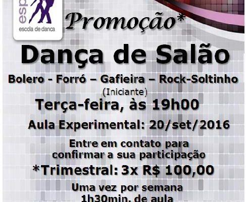 Dança de Salão (Bolero – Forró – Gafieira – Rock-Soltinho) – turma nova hoje às 19h00
