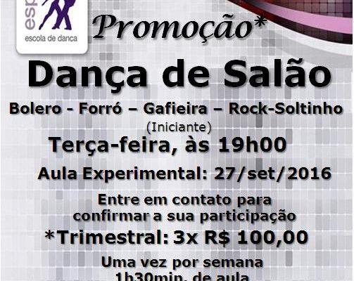 Dança de Salão (bolero – forró – gafieira – rock-soltinho), terça-feira, às 19h00, iniciante-turma nova