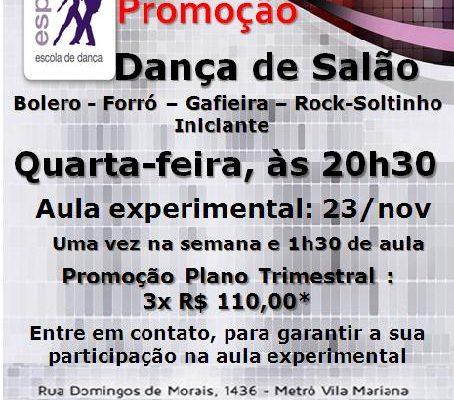 Dança de Salão (bolero – forró – gafieira – rock-soltinho), quarta-feira, às 20h30 – Turma iniciante