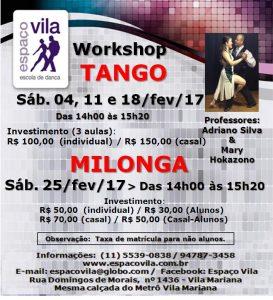 Workshop de Tango 04.02 e Milonga 25.02