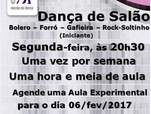 Dança de Salão (Bolero-Forró-Gafieira-Rock-Soltinho), 2ª feira, às 20h30, turma nova iniciante