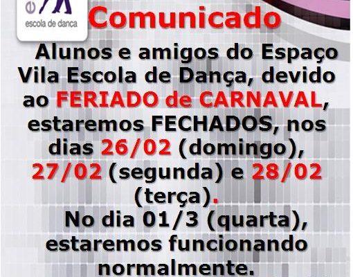 Devido ao Carnaval, estaremos fechados nos dias 26, 27 e 28 de fevereiro/2017