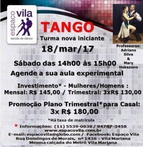 Tango sáb. às 14h00 18.3.17