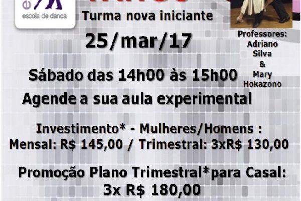 TANGO INICIANTE – SÁB. 25/3/17 –  DAS 14H00 ÀS 15H00. Prof. Adriano Silva & Mary Hokazono
