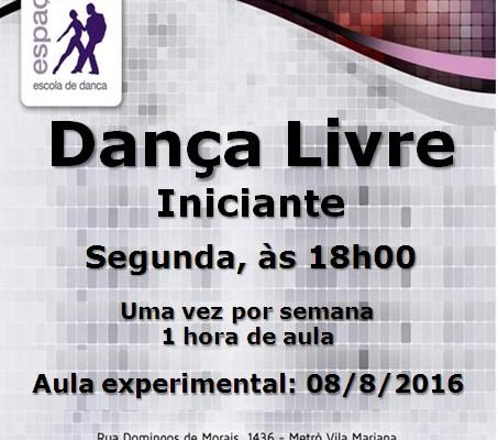 Dança Livre, iniciante, segunda, às 18h00