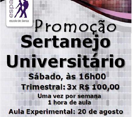 Sertanejo Universitário, sábado 20/8, às 16h00 – iniciante