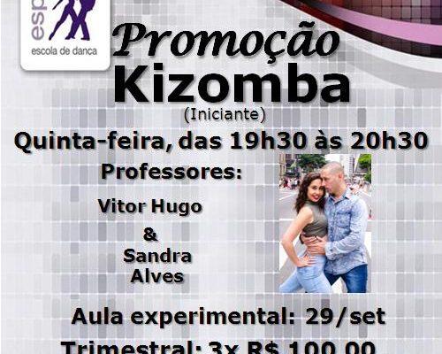 Kizomba, turma iniciante, 5ª feira, às 19h30