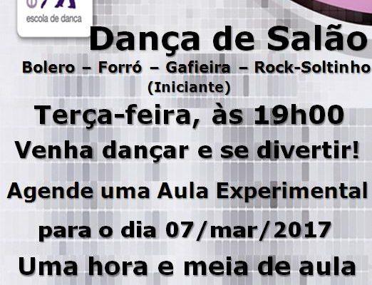 DANÇA DE SALÃO (BOLERO-FORRÓ-GAFIEIRA-ROCK-SOLTINHO), 3ª FEIRA, ÀS 19H00, TURMA NOVA INICIANTE