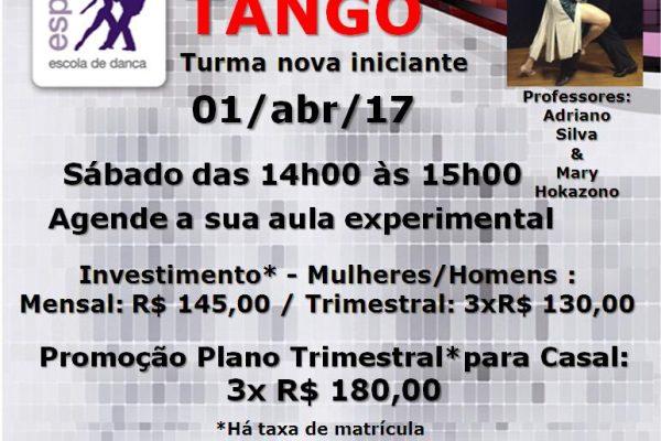 TANGO INICIANTE – SÁB. 01/abr/17 – DAS 14H00 ÀS 15H00. PROF. ADRIANO SILVA & MARY HOKAZONO