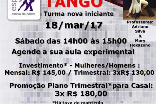 Tango – Turma nova iniciante – sáb. 18/3/17 das 14h00 às 15h00